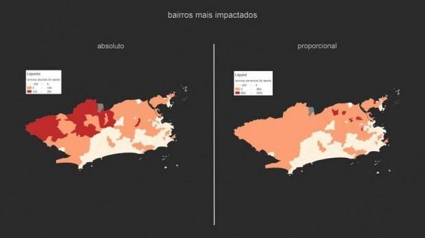 Rio de Janeiro: mapa mostra alertas de trânsito do Waze durante o dia de votação do primeiro turno das eleições de 2014 / Reprodução